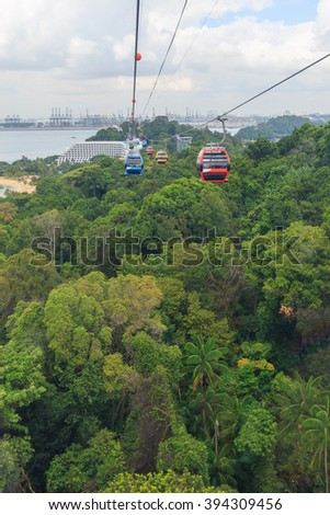 Singapore cable car in Sentosa island - stock photo