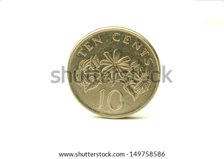 Singapore 10 cent coin - stock photo