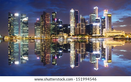 Singapore Central Business District in the evening