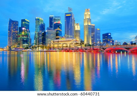 Singapore Central Business District Skyline in Year 2010 - stock photo