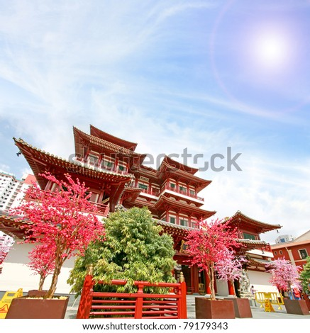 Singapore China town Buddha Tooth Relic Temple - stock photo