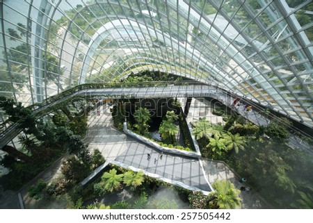 SINGAPORE, circa JANUARY 2015 - Display in the Flower Dome, one of two conservatories within the Gardens by the Bay spanning 101 hectares of reclaimed land in central Singapore - stock photo