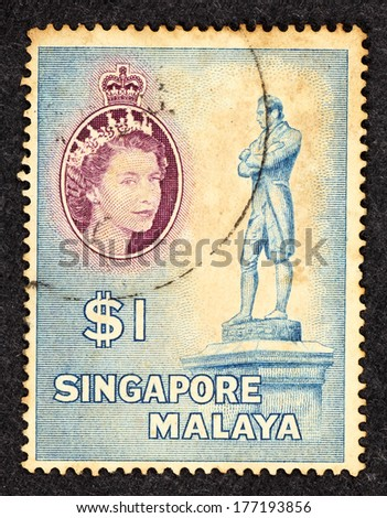 SINGAPORE - CIRCA 1954: Stamp printed in Singapore with image of Sir Stamford Raffles sculpture.  - stock photo