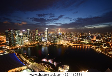 Singapore city at night. - stock photo