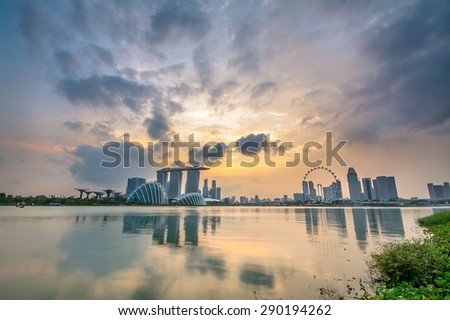 Singapore city during sunset.  - stock photo