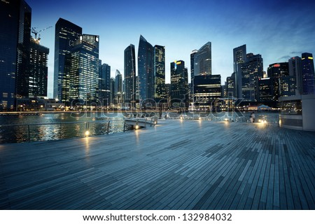 Singapore city in sunset time - stock photo