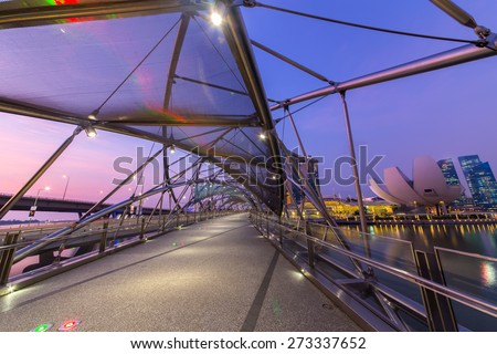 Singapore city in the night - stock photo