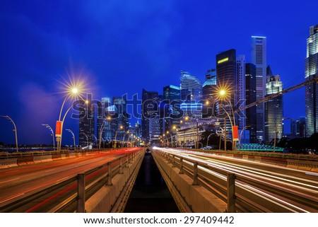 Singapore city, Marina bay  Finance and Trade Zone of the modern city night background - stock photo