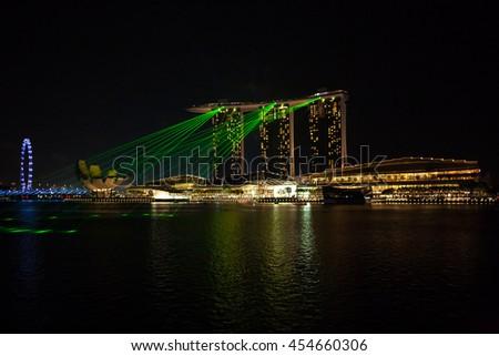 Singapore city, Singapore - July 17, 2016: The view to Marina Bay lazer show - stock photo