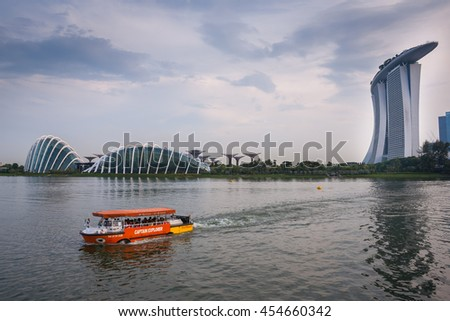 Singapore city, Singapore - July 17, 2016: The view to river and marina bay - stock photo