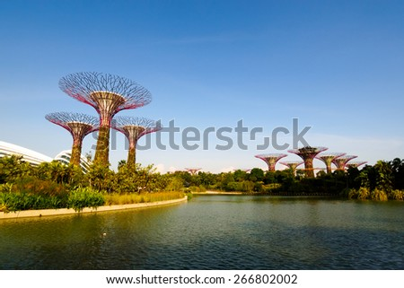 Singapore City, SINGAPORE - JUNE 21, 2014: Supertree Grove in the Graden by the Bay in Singapore. - stock photo