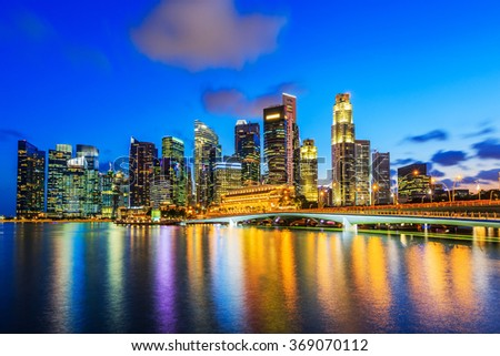 Singapore City, Singapore. Skyline at the Marina Bay.