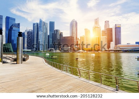Singapore city skyline at day - stock photo