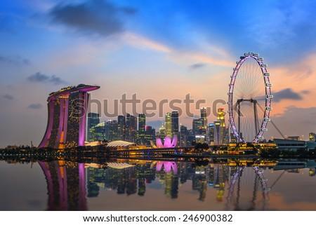 Singapore city skyline at Marina Bay - stock photo