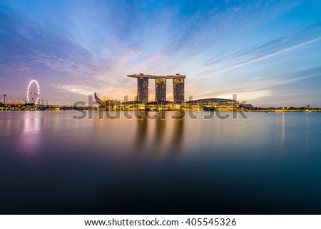 Singapore city skyline at Marina Bay during sunrise