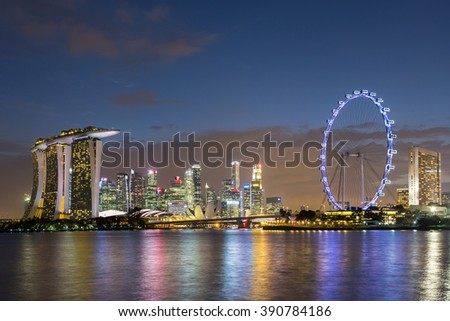 Singapore city skyline at night with amazing of color sky