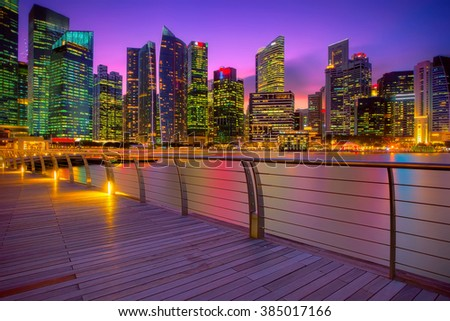 Singapore city skyline seen from the pier - stock photo