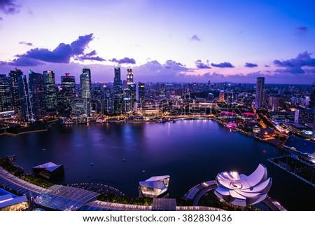 Singapore Cityscape at dusk - stock photo