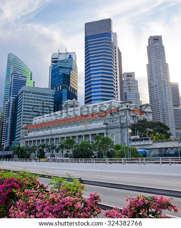 Singapore cityscape at evening time. - stock photo