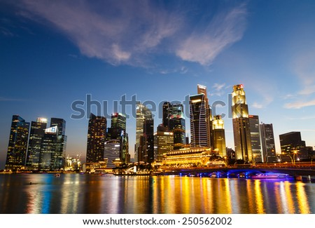 Singapore cityscape at night  with reflect , Singapore - 17 January 2015 - stock photo