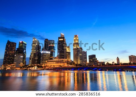 Singapore cityscape at night  with reflect , Singapore -31 January 2015
