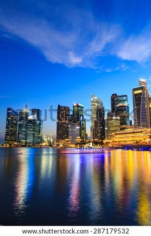Singapore cityscape at night  with reflect , Singapore -17January 2015 - stock photo