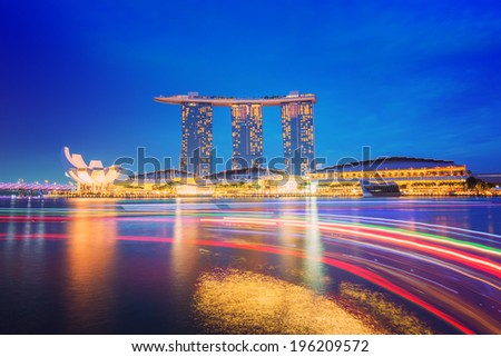 Singapore cityscape night view - stock photo