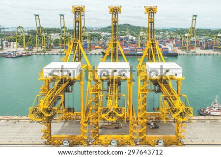 Singapore Container Terminal ,one of the busiest ports in the world, Singapore. - stock photo