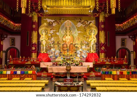 SINGAPORE - DEC 30, 2013: Maitreya Buddha of Buddha Tooth Relic Temple in China Town Singapore