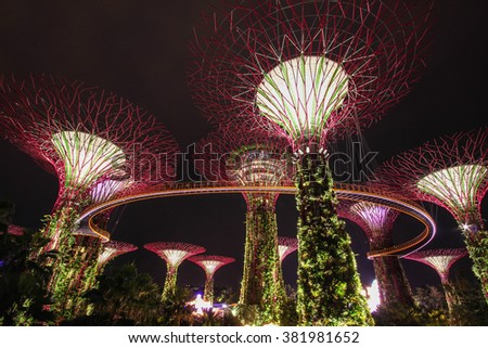 singapore dec 2014 night view of supertree at gardens by the bay on dec 04
