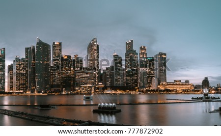 Singapore Dec 1st 2017. Panoramic city view of the Singapore marinabay area with the famous cityscape of Singapore's Central Business District.