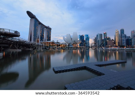 SINGAPORE-DEC 05: Sunset View of Singapore on DECEMBER 5TH, 2015 in Singapore. Central Business District (CBD), located at south of Singapore River, is the core financial and commercial districts.