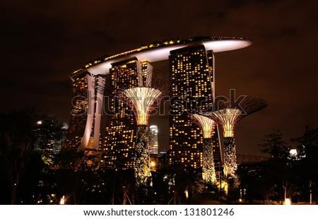 SINGAPORE - DECEMBER 29: Marina Bay Sand on December 29, 2012 in Singapore. Marina Bay Sand is a Modern Hotel and Casino. - stock photo