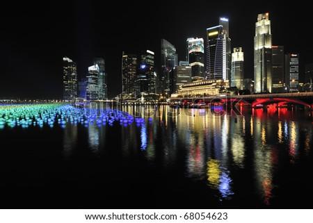SINGAPORE - DECEMBER 31:  Marina Bay Singapore Countdown 2010/2011 DECEMBER 31, 2010 in Singapore. - stock photo