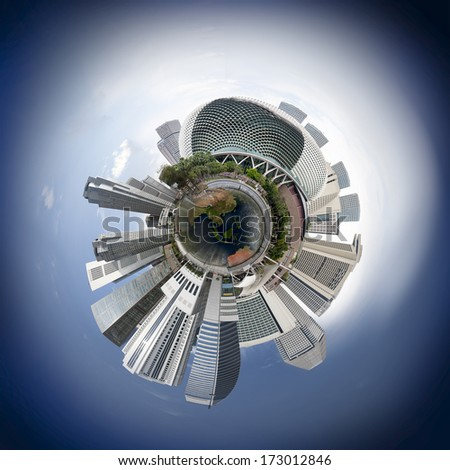 Singapore downtown skyline with skyscrapers, 360 degree miniplanet (Elements of this image furnished by NASA) - stock photo