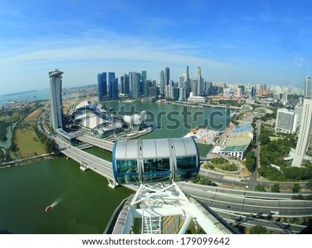SINGAPORE - FEB 01: View of the Singapore Flyer on Febuary 01, 2014 in Singapore. At a height of 165m, Singapore Flyer is the largest Giant Observation Wheel in the world.
