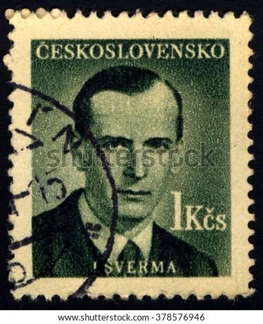 SINGAPORE - FEBRUARY 19, 2016: A stamp printed in Czechoslovakia shows Portrait of Jan Sverma (1901-1944), circa 1949 - stock photo