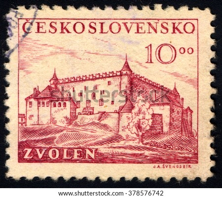 SINGAPORE - FEBRUARY 19, 2016: A stamp printed in Czechoslovakia shows the Zvolen is a town in central Slovakia, circa 1949 - stock photo