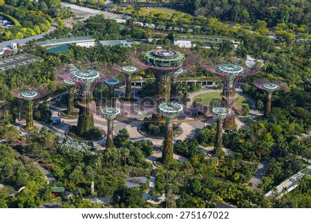 SINGAPORE - FEBRUARY 27, 2015: aerial view of Garden by the Bay. Garden by the Bay is the famous tourist attraction in Singapore. - stock photo