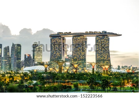 SINGAPORE - FEBRUARY 3, 2013: Marina Bay Sands, designed by Moshe Safdie, the integrated resort casino and shopping center in Singapore. Feb 3 2013  - stock photo