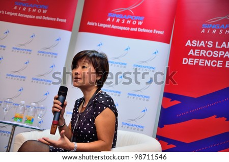 SINGAPORE - FEBRUARY 17: Ms Angelica Lim (General Manager) speaking at the media briefing at Singapore Airshow February 17, 2012 in Singapore