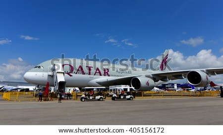 SINGAPORE - FEBRUARY 16:  Qatar Airways Airbus A380 super jumbo on display at Singapore Airshow February 16, 2016 in Singapore - stock photo