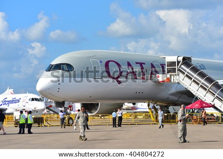 SINGAPORE - FEBRUARY 16:  Qatar Airways Airbus A350-900 XWB on display at Singapore Airshow February 16, 2016 in Singapore
