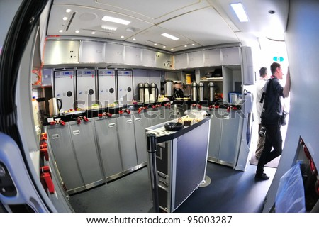 SINGAPORE - FEBRUARY 12: Rear gallery of a Boeing 787 Dreamliner at Singapore Airshow February 12, 2012 in Singapore