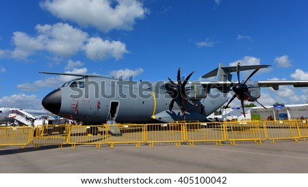SINGAPORE - FEBRUARY 16:  Royal Malaysian Air Force Airbus A400m military transport aircraft on display at Singapore Airshow February 16, 2016 in Singapore - stock photo