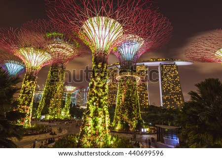 singapore february 26 2016 supertree garden at night garden by the bay