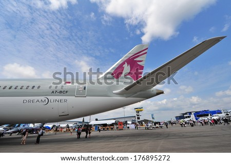 SINGAPORE - FEBRUARY 12: Tail section of Qatar Airways Boeing 787-8 Dreamliner at Singapore Airshow February 12, 2014 in Singapore - stock photo