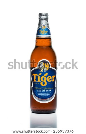 SINGAPORE, February 24, 2015: Tiger Beer accounted for 29% of total volume share of the Singapore beer market.  Tiger Beer is a brand of Asia Pacific Breweries Ltd, Singapore.  - stock photo