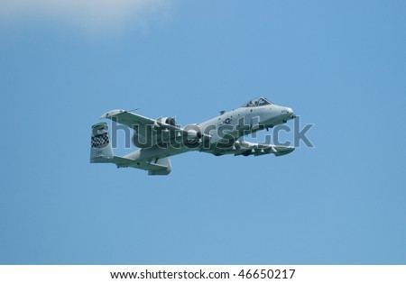 SINGAPORE - FEBRUARY 3: United States Air Force A-10 Thunderbolt II fighter aircraft at Singapore Airshow 2010 at Changi Exhibition Centre, Singapore on February 3, 2010.