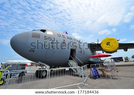 SINGAPORE - FEBRUARY 12: USAF Boeing C-17 Globemaster III cargo aircraft on display at Singapore Airshow February 12, 2014 in Singapore